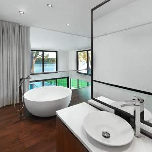 salle de bains moderne en bois dans maison bois