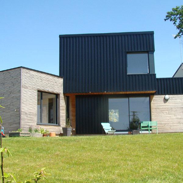 maison bioclimatique en ossature bois dans le Morbihan