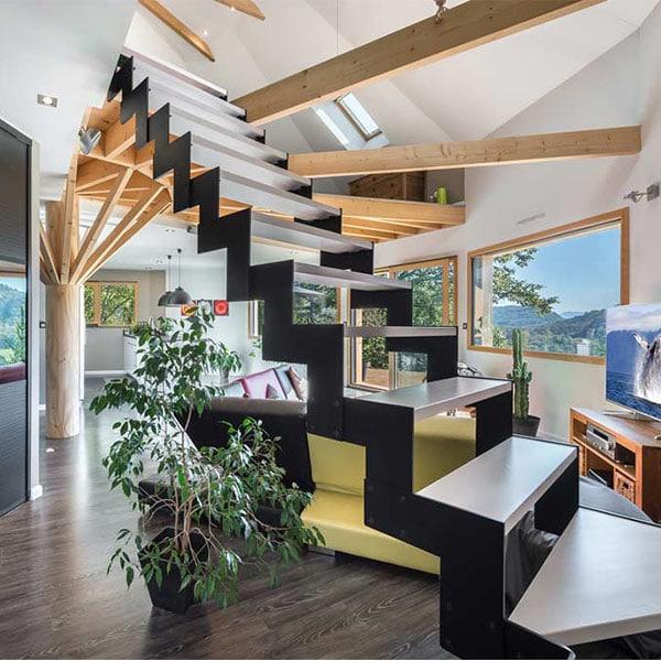 aménagement intérieur d'une maison en bois en Auvegne Rhônes-Alpes