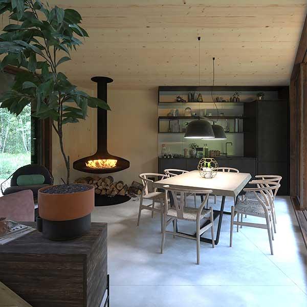 séjour en bois avec cheminée dans un immeuble biophiliqu en CLT