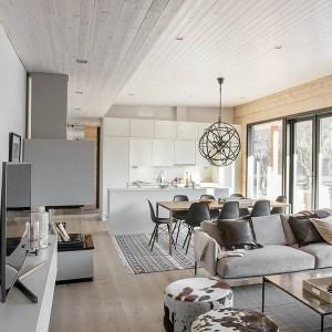 cuisine ouverte avec salon dans maison bois