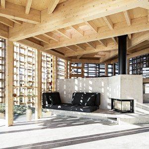 salon avec cheminée dans maison bois