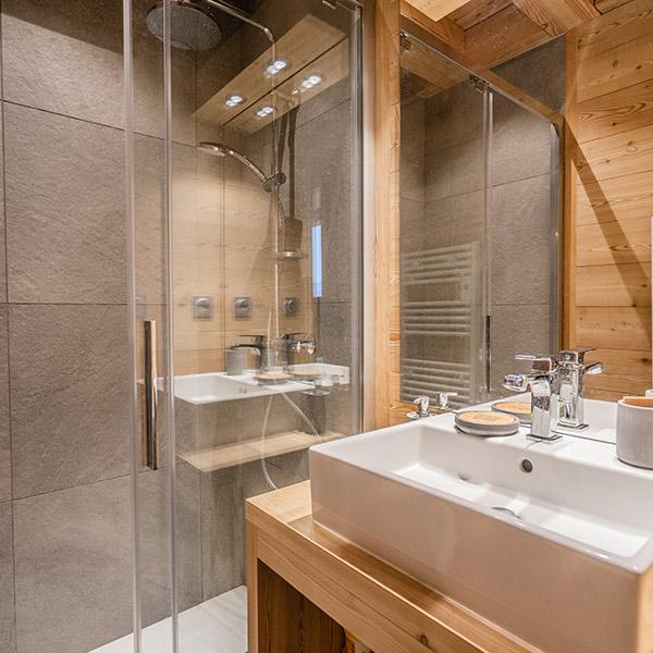 salle de bain avec douche ouverte
