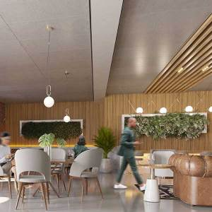 Un plafond acoustique en bois, recouvert de ciment © Hunter Douglas Architectural