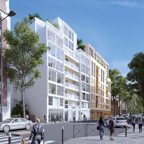 Vue 3D de l'immeuble Hoya en bois massif CLT à Issy-les-Moulineaux pour le promoteur Woodeum © LCA Construction Bois