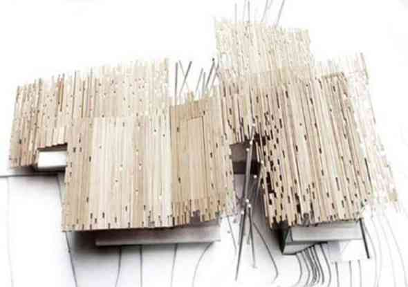 Artistic Random Edges of Wooden for the Walls Aimai House