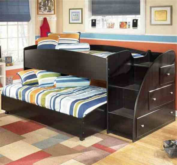 colorful bunk beds with drawers as unique space saving