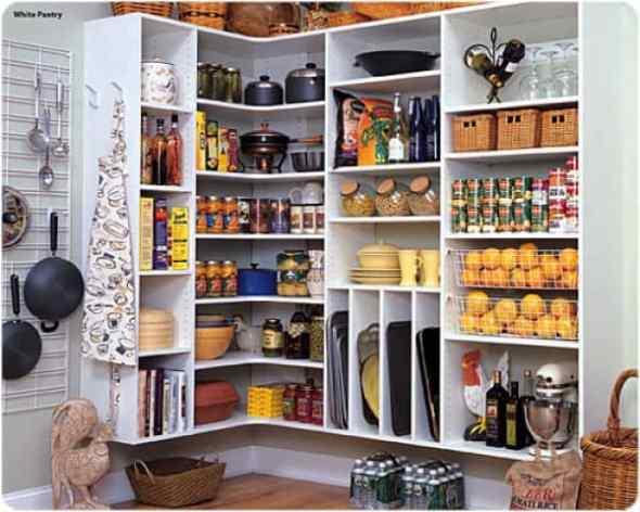 vertical pantry in the corner