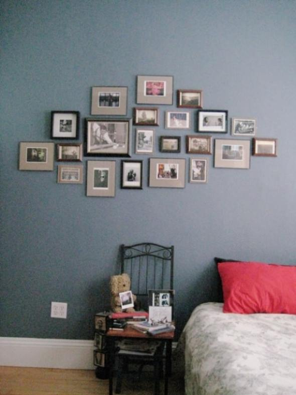 Hanging postcards of some of favorite artists , pictures of family, friends and inspiration as the bedroom wall art