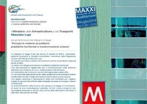 Invito alla presentazione del testo del DDL nuova legge urbanistica del Ministro Lupi