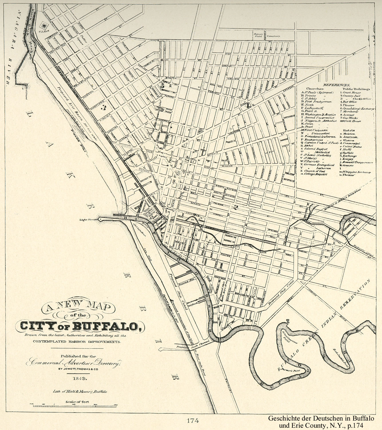 Map of the city of Buffalo, NY 1849