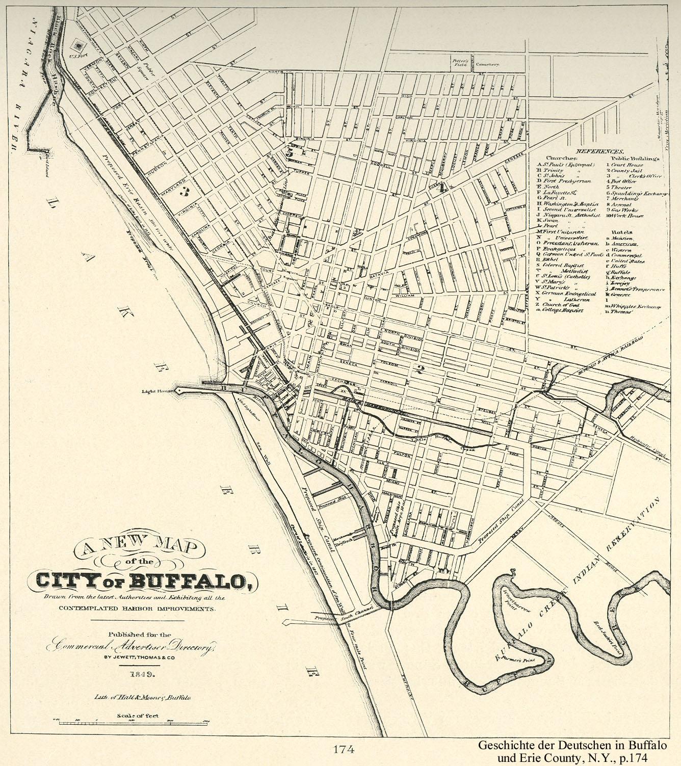 Map of the city of Buffalo, NY 1849