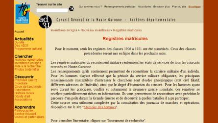 Registres Matricules Haute Garonne