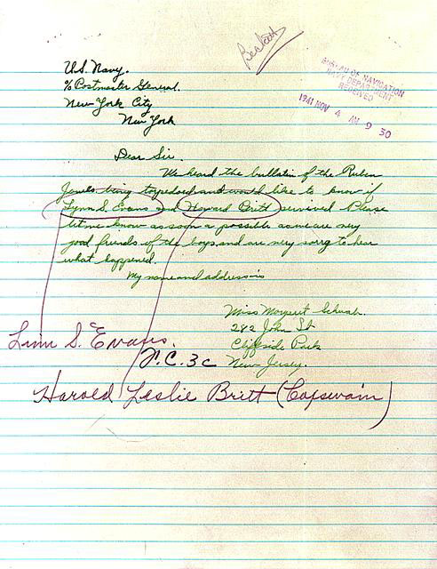 Letter to the U.S. Navy asking the fate of friends aboard the U.S.S. Reuben James, November, 1941