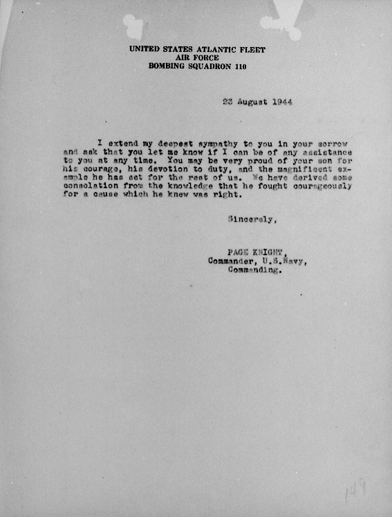 Page 2 of August 23, 1944 condolence letter to the parents of Lt. Joseph Kennedy, Jr.,
