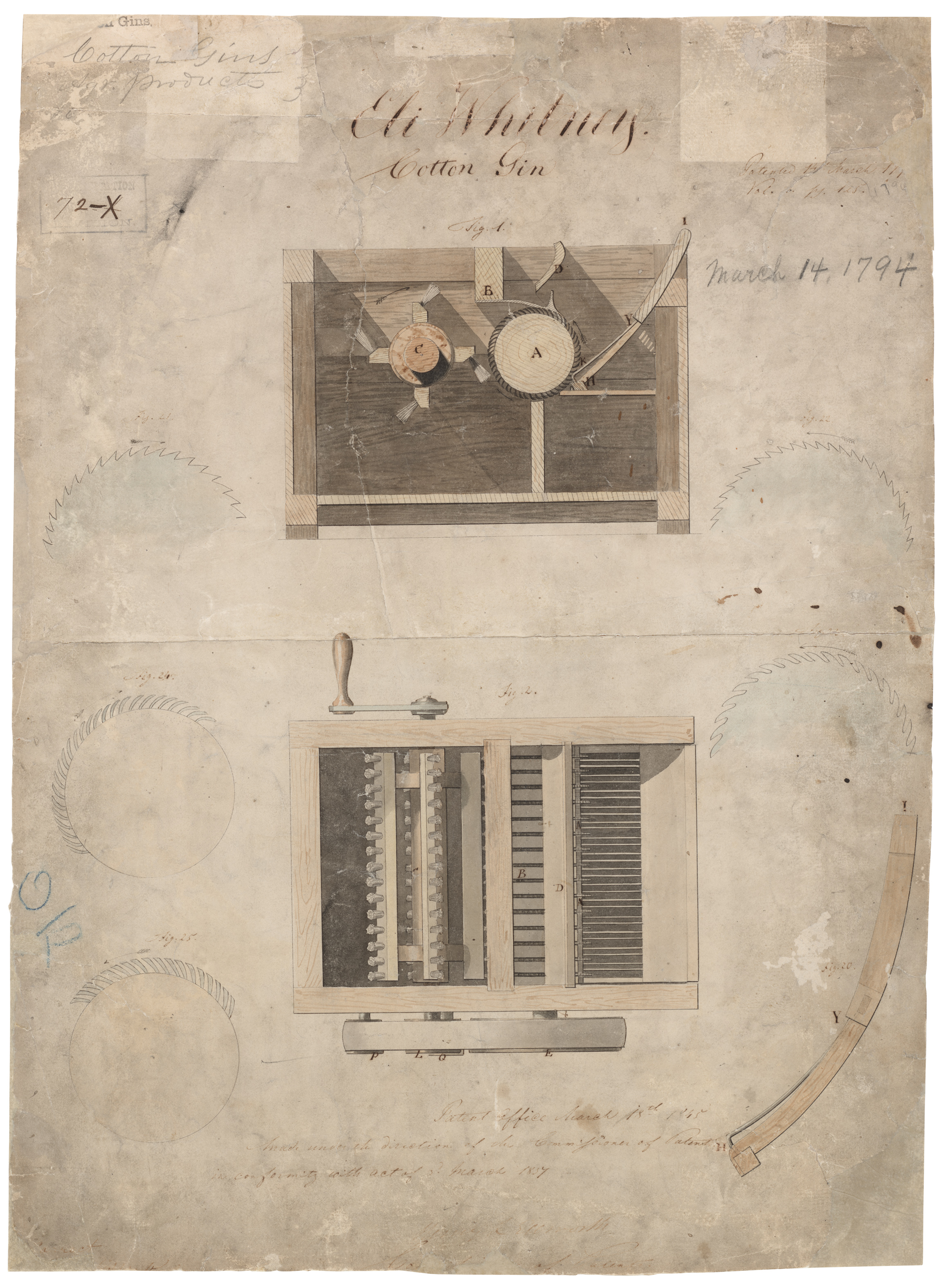Eli Whitney S Patent For The Cotton Gin