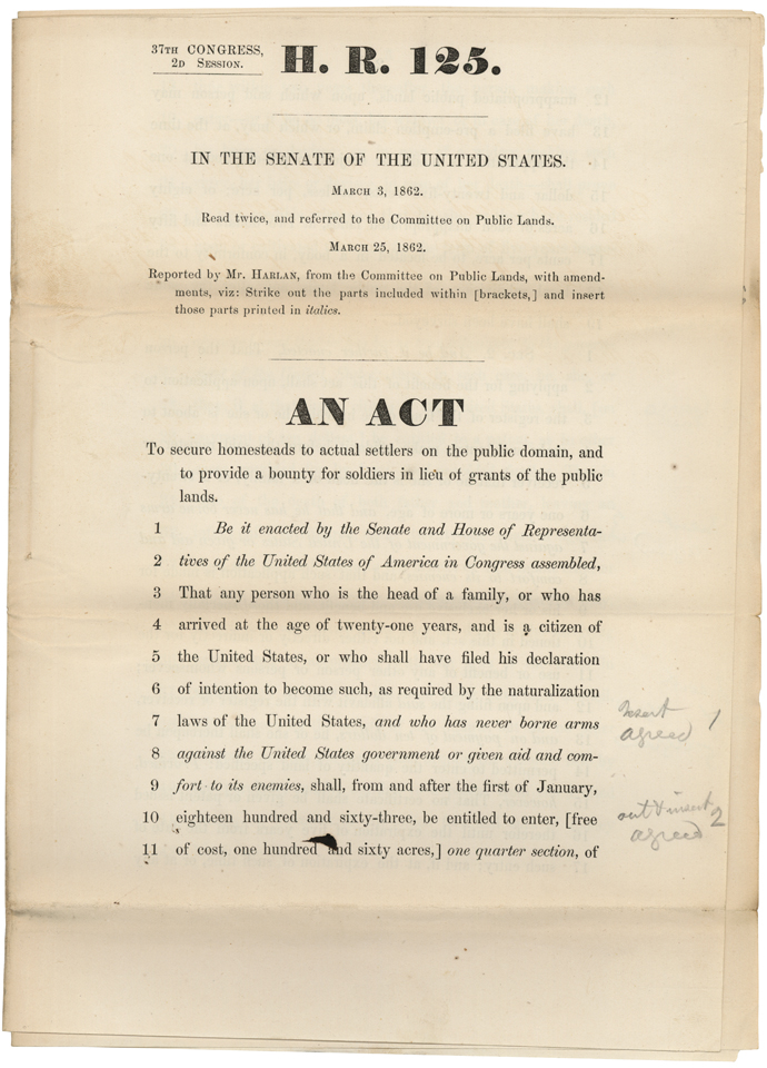 The bill that became the Homestead Act, H.R. 125, in the 37th Congress, 1862. Image from the U.S. National Archives