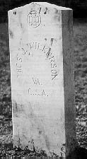 Typical Confederate headstone with its distinctive pointed top, issued from the Veterans Administration