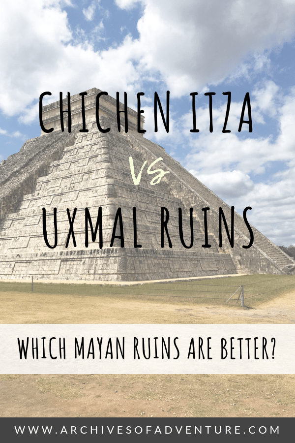 Traveling to the Yucatan Peninsula in Mexico and not sure what Mayan ruins to visit? Here is the ultimate Chichen Itza vs Uxmal Ruins showdown! #Mexico #MexicoTravel #ChichenItza #Yucatan #MayanRuins