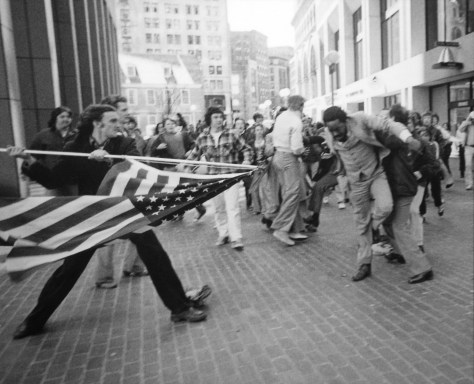 """The Soiling of Old Glory,"" by Stanley Forman, 1976."