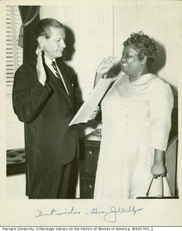 Governor Endicott Peabody adminiters the oath to Ruth M. Batson for her new appointment at the Massachusetts Commission Against Discrimination, 1963. Image reproduced for research and educational purposes, courtesy of the Schlesinger Library, Radcliffe Institute, Harvard University. Rights status is not evaluated.