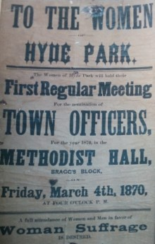 Flyer announcing Caucus for Women's Suffrage in Hyde Park, 1870.