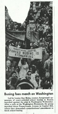 "Clipping of a newspaper article about ROAR's ""March on Washington"" in March 1975. The article states that ROAR marched to demand a constitutional amendment to block school busing. Clipping part of the Louise Day Hicks Papers, Boston City Archives."