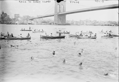 Open water swimming race from the Battery to Coney Island, New York, 1908. (George Grantham Bain Collection, Library of Congress)