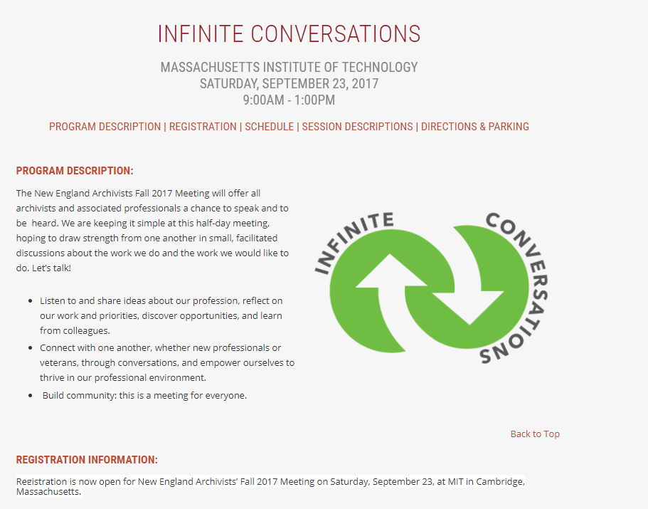 Infinite Conversations: New England Archivists Fall Meeting