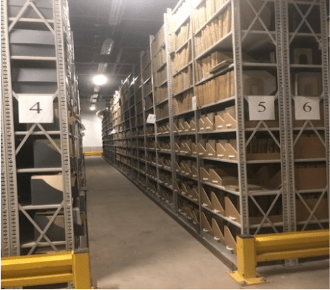 Interior views of the records room, City of Boston Archives.