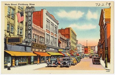 Main Street, Fitchburg, MA; c.a. between 1930 and 1945. Image is in the public domain.
