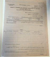 During prohibition, Angell Memorial Hospital needed to apply for a permit to use alcohol in the hospital. This is that application.
