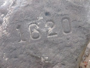 1620 stamp on Plymouth Rock. Plymouth will celebrate its 400th year in 2020.