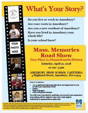 Flyer for the upcoming Road Show in Amesbury, MA.