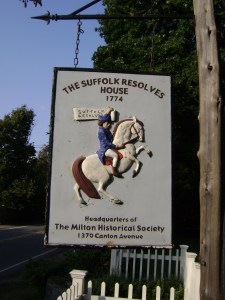 Sign on Canton Avenue marking the location of the Suffolk Resolves House and identifying it as the headquarters for the Milton Historical Society. Photograph by Jonathan Green.