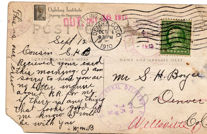 Handwritten message of the back of a postcard. From the Ellen Dunable Postcard Collection, Museums of Oglebay Institute