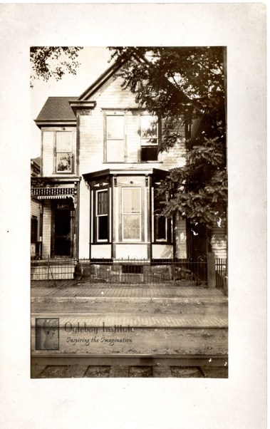 """A real photo postcard of a home in Wheeling. On the back there is the message, """"This is a picture of our place at 4515 Water St."""" From the Ellen Dunable Postcard Collection, Museums of Oglebay Institute"""