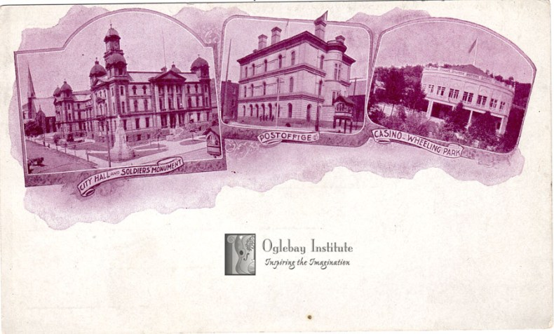 This postcard from the Dunable Collection depicts several buildings in Wheeling with space for a message below. Museums of Oglebay Institute.