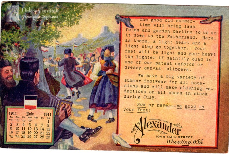 An advertisement by the Alexander & Co. for summer footwear created between 1901 and 1907. From the Ellen Dunable Postcard Collection, Museums of Oglebay Institute.