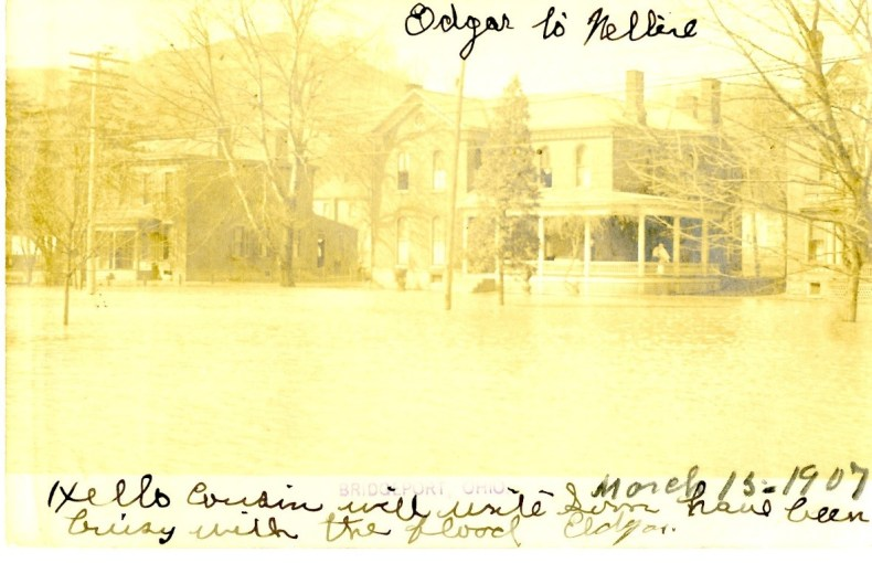 Bridgeport Ohio flood, 1907, photo postcard. Courtesy of Bethany College – Upper Ohio Valley Collection