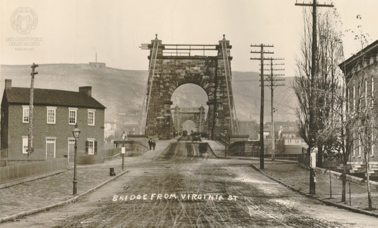 W.C. Brown Photo of the Suspension Bridge from Virginia Street on Wheeling Island