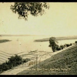 No buildings are visible in this early 20th century view of the Sisters Islands from Martins Ferry.