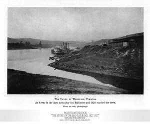 "An early photograph of the levee at Wheeling shortly after the B&O Railroad arrived. From the book, ""The Story of the B&O Railroad, 1827-1927,"" Edward Hungerford."
