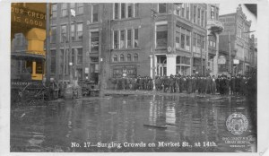 "In this image from the 1907 flood, the corner of the House & Herrmann building with the slogan, ""Your Credit is Good"" is visible at left. OCPL Archives."