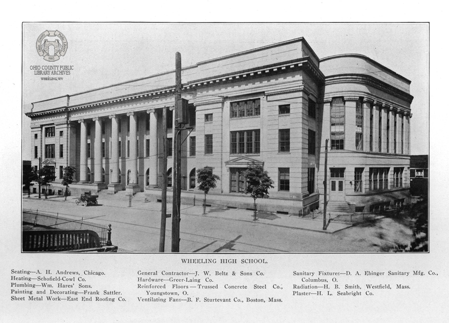 The Frederick Faris designed Wheeling High School. Image from The Ohio Architect, November 1915. -OCPL Archives Beverly Fluty Collection.