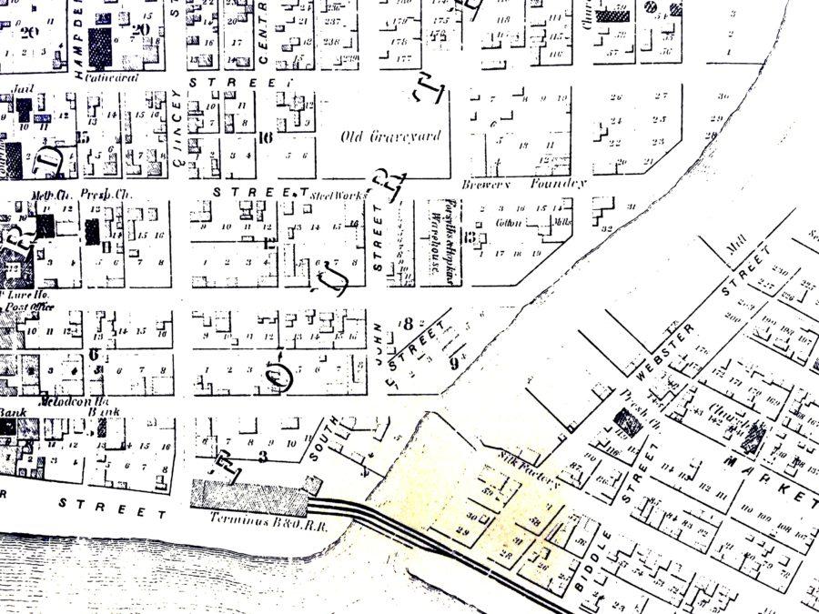 1853 map of Wheeling.   Archiving Wheeling Map Of Wheeling Wv And Surrounding Areas on map of seneca rocks wv and surrounding area, map of ohio and west virginia, map of wheeling west virginia showing, map of triadelphia wv,