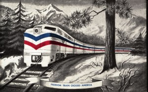 Freedom Train postcard, OCPL Archives.
