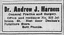 This advertisement of Dr. Harness's services was run in The Fairmont West Virginian several times throughout 1916. This particular advertisement comes the February 16 edition of the paper.