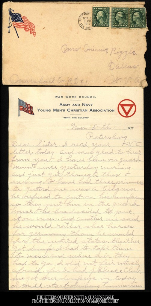 November 5, 1917: From Camp Lee to the Great War: The Letters of Lester Scott and Charles Riggle - From the personal collection of Marjorie Richey