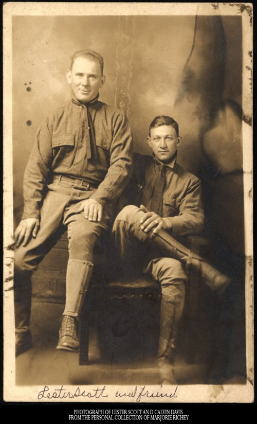 Lester Scott and Calvin Davis in Army Training, WWI, Camp Lee, Va. Photo provided by Marjorie Ritchey. *